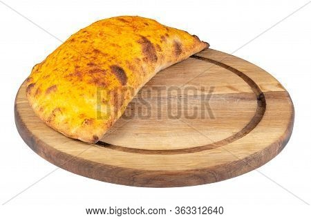 Tasty Homemade Calzone Pizza On A White Plate. Italian Food Isolated On The White Background. Side V