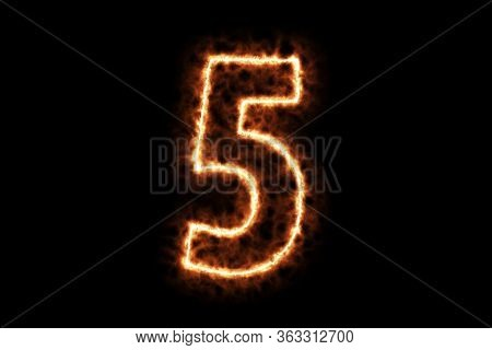 Fire Burning Forming Number Five, 5, Alphabet Text Character Isolated On Black Background. 3d Render
