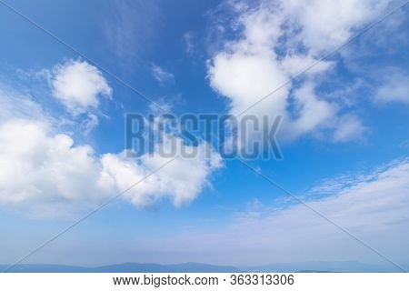 Sunning Cloudscape On A Summer Day. Beautiful Sunny Weather Forecast. Dynamic Cloud Formation On The