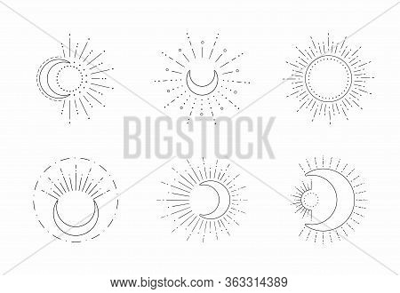 Vector Sun And Moon Line Design. Outline Suns Symbols, Moon Element Icon Set Isolated On White Backg