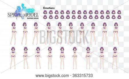 Sprite Full Length Character For Game Visual Novel. Anime Manga Girl, Cartoon Character In Japanese