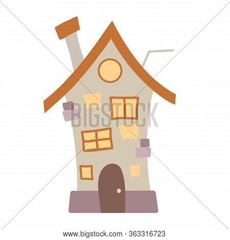 Flat Cartoon Illustration Of A Multi-storey Village House With A Chimney And Antenna On A White Back