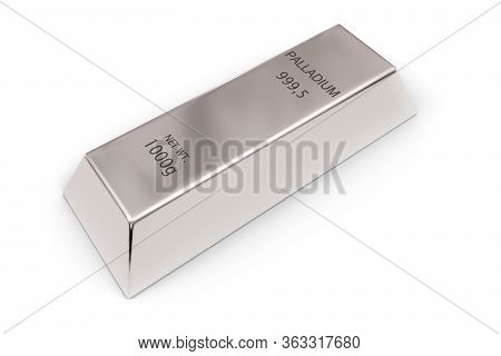 Shiny Palladium Ingot Or Bar Over White Background - Precious Metal Or Money Investment Concept, 3d