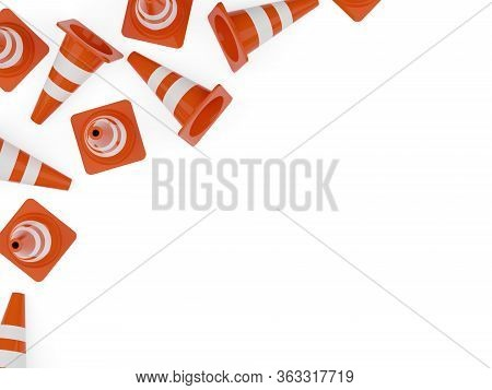 Orange Traffic Warning Cones Or Pylons Corner Frame On White Background Flat Lay Top View From Above