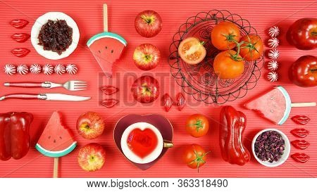 Red Foods With Healthy Antioxidants And Health Benefits Creative Concept.