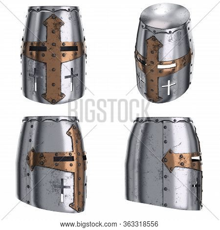 Medieval Knight Templar Crusader Helmet With Cross Symbol. Front View. Ancient Equipment For Battlef
