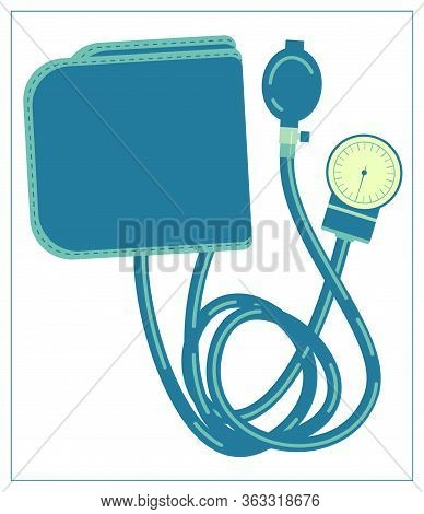 Vector Flat Illustration With A Medical Tonometer For Measuring Blood Pressure. Isolated Stock Illus