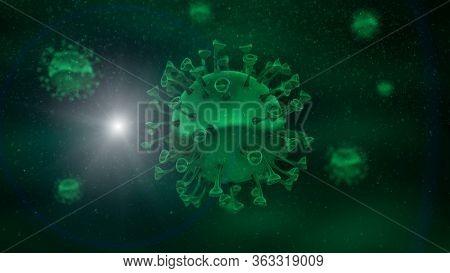 Coronavirus Covid-19 3D Virus  illustration SARS Co-V