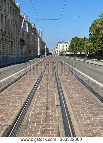 Brussels, Belgium, April 25, 2020 - public transport in brussels street deserted during Confinement covid-19. Crisis during a bright spring day