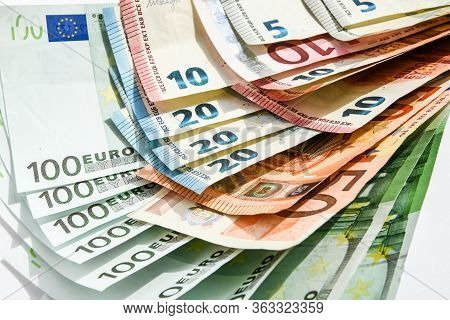 The Euro Is The Currency Of The European Union, Euro Money Background From Many Euro Banknotes In Di