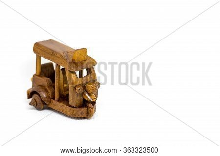 Close-up, Retro Old Toy Tricycle Obsolete Wooden