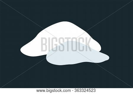 Snow Pile Set. Ice Winter Design. White Blue Design Snow Template. Snowy Frame Decoration Isolated B