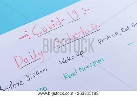 Concept Of Planning Daily Schedule During Covid-19 Or Coronavirus Lockdown Or Home Quarantine - Cols