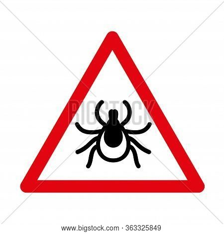 No Tick, Mite Sign And Red Triangle Warning Symbol