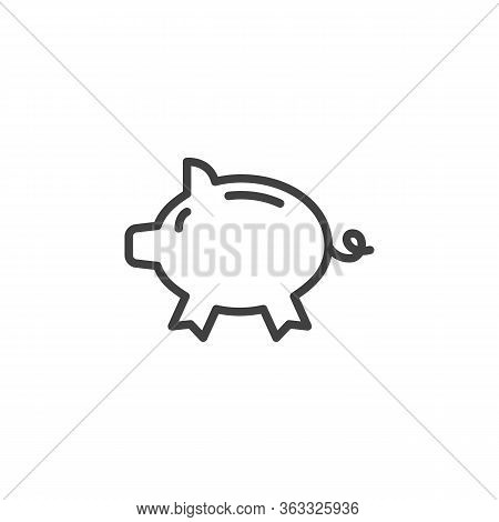 Piggy Bank Line Icon. Linear Style Sign For Mobile Concept And Web Design. Moneybox Outline Vector I