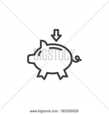 Piggy Bank And Arrow Line Icon. Linear Style Sign For Mobile Concept And Web Design. Money Saving Pi