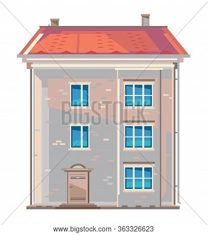 One Old Fashioned Three-storey European Apartment Building In Flat Style Isolated, Central European