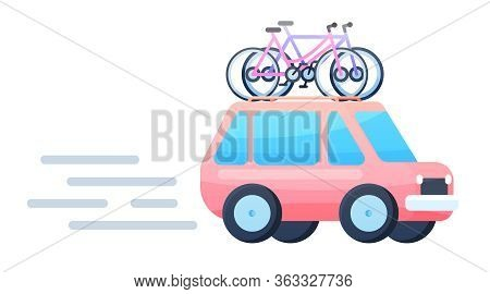 Vector Flat Design Modern Crossover Vehicle With Bicycles On Top Rack.