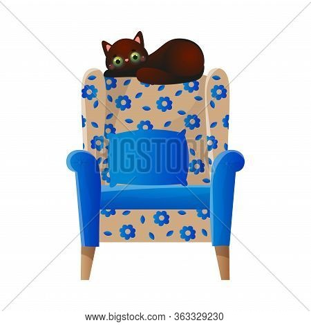 Cute Domestic Brown Cat Character Lying On The Soft Colorful Armchair. Vector Illustration In Flat C