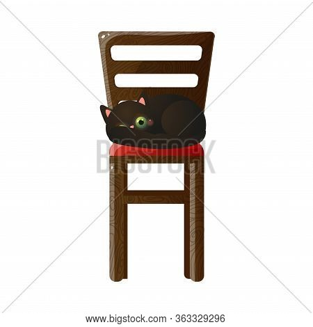 Cute Domestic Black Cat Character Lying On The Tall Wooden Chair. Vector Illustration In Flat Cartoo