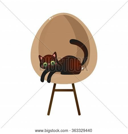 Cute Domestic Black Cat Character Lying On A Design Cream Chair. Vector Illustration In Flat Cartoon