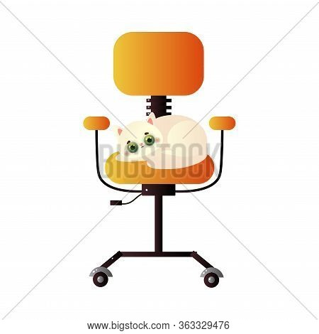 Cute Domestic White Cat Character Lying On The Tall Orange Office Chair. Vector Illustration In Flat