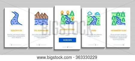 River Landscape Onboarding Mobile App Page Screen Vector. River With Mountain And Forest, Bridge And
