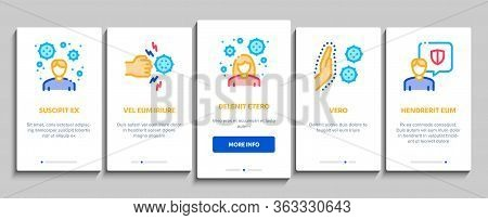 Immunity Human Biological Defense Onboarding Mobile App Page Screen Vector. Protective Bacterias, Sy