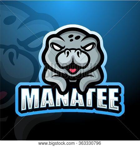 Vector Illustration Of Manatee Mascot Esport Logo Design