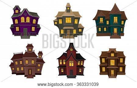 Gloomy Houses With Shiny Yellow Windows Vector Set