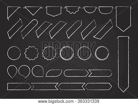 Chalk Outline Ribbon Labels Vector Collection Illustration. Chalk Style White Curved Shape Ribbons,