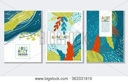Abstract Cover Or Card Design With Fancy Shaped Foliage Vector Set