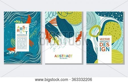 Abstract Cover Or Card Design With Fancy Shaped Foliage And Wavy Shapes Vector Set