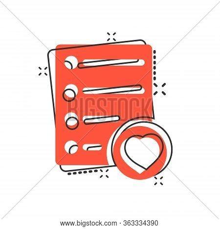 Wishlist Icon In Comic Style. Like Document Cartoon Vector Illustration On White Isolated Background