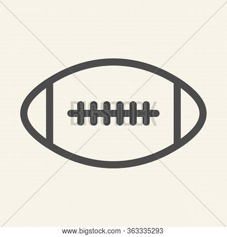 Rugby Ball Line Icon. American Football Game Outline Style Pictogram On Beige Background. Rugby Sign