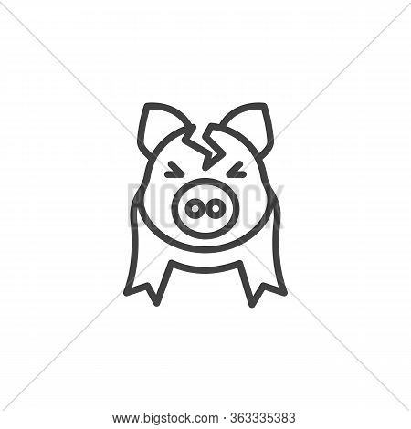 Broken Piggy Bank Line Icon. Linear Style Sign For Mobile Concept And Web Design. Cracked Piggy Bank