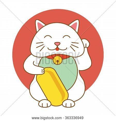 Maneki Neko Lucky Cat Kitten Icon Flat Web Sign Symbol Logo Label