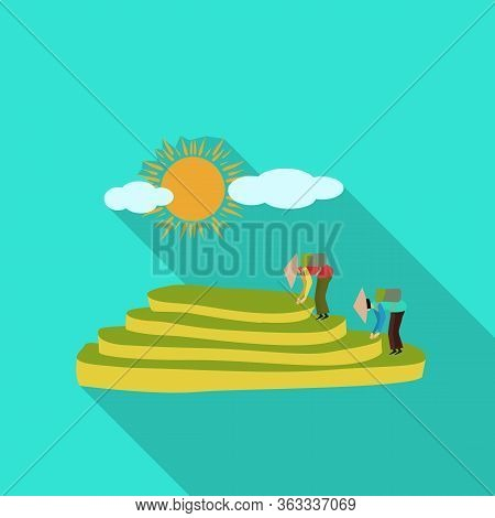 Vector Design Of Rice And Field Icon. Set Of Rice And Terrace Stock Symbol For Web.