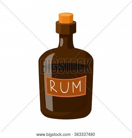 Vector Illustration Of Rum And Bottle Icon. Set Of Rum And Stopper Stock Symbol For Web.