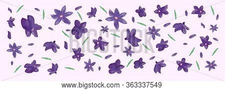 3d Realistic Flowers Lavender With Green Leaf. Fragrant Lavender On Violet Background. Beautiful Lav