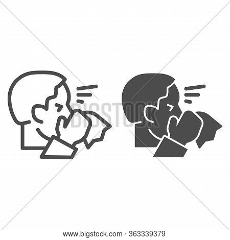 Man With Runny Nose Hold Napkin Line And Solid Icon. Sick Person Sneezing Symbol, Outline Style Pict
