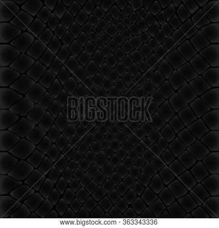 Snake Skin Pattern. Black Viper, Drawing On The Skin. Reptile Surface Monochrome Leather Texture. An