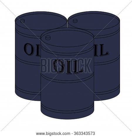 Vector Illustration, Icon Or Sign Of Three Barrels With Oil, The Symbol Of Oil Out Put, Extraction,