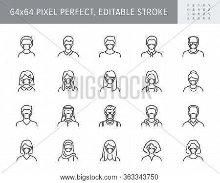 People In Mask Avatar Line Icons. Vector Illustration Included Icon As Man, Female, Muslim, Senior,