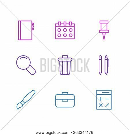 Vector Illustration Of 9 Stationery Icons Line Style. Editable Set Of Trash Bin, Copybook, Magnifier