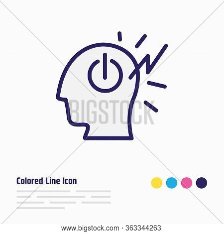 Vector Illustration Of Mind Power Icon Colored Line. Beautiful Emoji Element Also Can Be Used As Inv