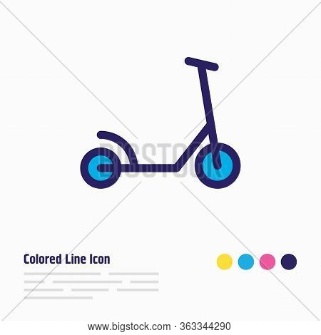 Illustration Of Kick Scooter Icon Colored Line. Beautiful Transport Element Also Can Be Used As Kick