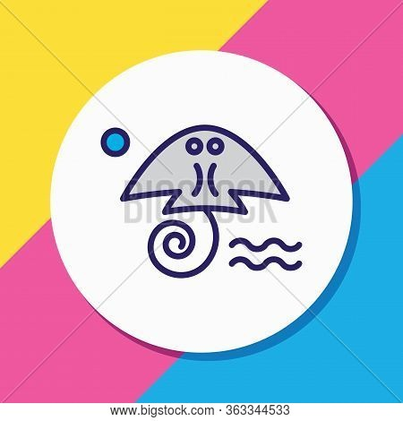 Vector Illustration Of Cramp Fish Icon Colored Line. Beautiful Maritime Element Also Can Be Used As