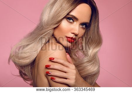 Beauty Portrait Of Blonde Woman With Red Lips, Long Healthy Shiny Blond Hair Style And Manicured Nai