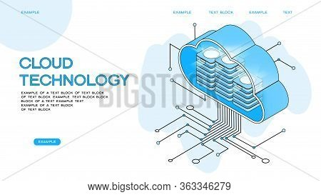 Cloud Computing.  Online Devices Upload, Download Information. Data In Database On Cloud Services. I